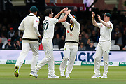 Wicket - Pat Cummins of Australia celebrates taking the wicket of Jos Buttler of England during the International Test Match 2019 match between England and Australia at Lord's Cricket Ground, St John's Wood, United Kingdom on 18 August 2019.