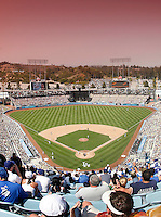 May 13, 2007: Overview of the infield inside the baseball stadium with sunset filter in the sky during the Dodgers 10-5 win over the Cincinnati Reds at Dodger Stadium during a day game in Los Angeles, CA.