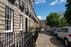 View of Saxe Coburg Place in Stockbridge, Edinburgh, Scotland, UK