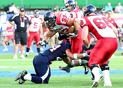 16.07.2011, Ernst Happel Stadion, Wien, AUT, American Football WM 2011, United States of America (USA) vs Canada (CAN), im Bild Matt Walters (Canada, #33, RB) gets stopped by Zach Watkins (USA, #44, LB)  // during the American Football World Championship 2011 game, USA vs Canada, at Ernst Happel Stadion, Wien, 2011-07-16, EXPA Pictures © 2011, PhotoCredit: EXPA/ T. Haumer
