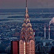 Chrysler Building by night seen from the Empire State Building.