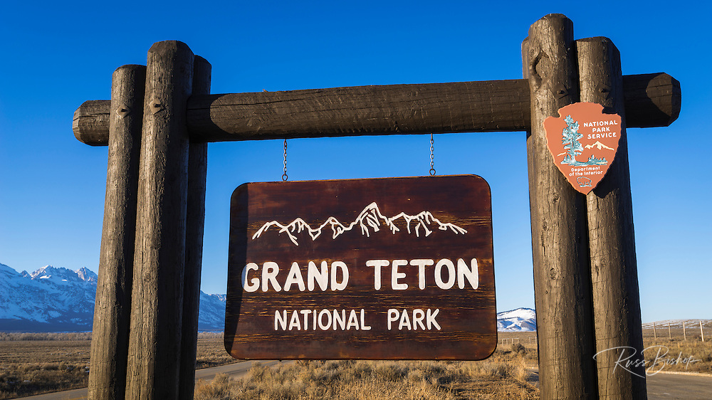 Entrance sign, Grand Teton National Park, Wyoming USA