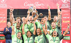 Cape Town. 131215. South Afrfica celebrates after winning the HSBC World Rugby Sevens Series againts Argentinia. Picture Leon Lestrade