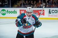 KELOWNA, CANADA - DECEMBER 27: Liam Kindree #26 of the Kelowna Rockets celebrates the shoot out winning goal against the Kamloops Blazers on December 27, 2017 at Prospera Place in Kelowna, British Columbia, Canada.  (Photo by Marissa Baecker/Shoot the Breeze)  *** Local Caption ***