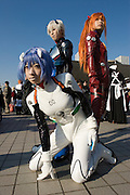 """Cosplayers dressed up as characters from the anime """"NEON GENNESIS EVANGELION"""". """"Rei"""" (front), """"Atsuka"""" (R) & """"Kaoru"""" (back). TOKYO COMIC MARKET """"COMIKET"""" the biggest comic market in Japan. Independent designers come to sell their comics, there is anime, manga, cosplay, toys, posters etc. At """"Tokyo Big Sight"""" exhibition center."""