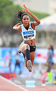 Shanieka Ricketts aka Shanieka Thomas (JAM) places third in 48-1 3/4 (14.67m) during the women's triple jump in the  Herculis Monaco in an IAAF Diamond League meet , Thursday, July 11, 2019, in Port Hercules, Monaco.(Jiro Mochizuki/Image of Sport)