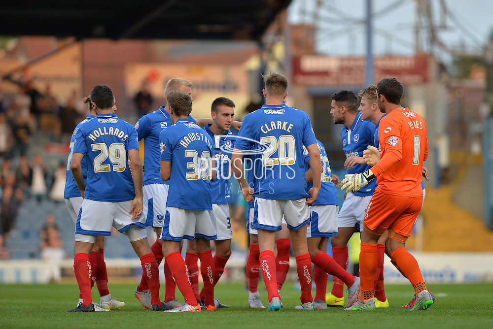 Portsmouth players during the Capital One Cup match between Portsmouth and Derby County at Fratton Park, Portsmouth, England on 12 August 2015. Photo by Adam Rivers.