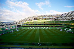 DUBLIN, IRELAND - Tuesday, October 16, 2018: A general view of the Aviva Stadium before the UEFA Nations League Group Stage League B Group 4 match between Republic of Ireland and Wales at the Aviva Stadium. (Pic by Paul Greenwood/Propaganda)