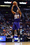 Nov 2, 2016; Phoenix, AZ, USA; Phoenix Suns forward TJ Warren (12) shoots the ball during the first half of the NBA game against the Portland Trail Blazers at Talking Stick Resort Arena. The Suns defeated the Trail Blazers 118-115 in overtime. Mandatory Credit: Jennifer Stewart-USA TODAY Sports