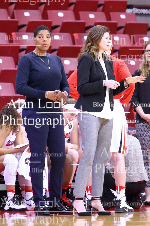 01 January 2017: Cathy Boswell and Lisa Hayden during an NCAA Missouri Valley Conference Women's Basketball game between Illinois State University Redbirds the Braves of Bradley at Redbird Arena in Normal Illinois.
