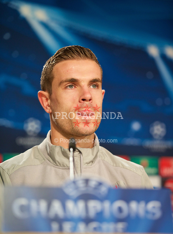 MADRID, SPAIN - Monday, November 3, 2014: Liverpool's Jordan Henderson during a press conference at the Estadio Santiago Bernabeu ahead of the UEFA Champions League Group B match against  Real Madrid CF. (Pic by David Rawcliffe/Propaganda)