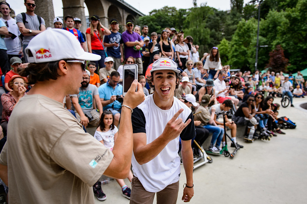 Viki Gomez and Danny Leon pose for a portrait during Red Bull 3en1 at Skatepark Péitruss, Luxembourg, Luxembourg, June 3, 2017.