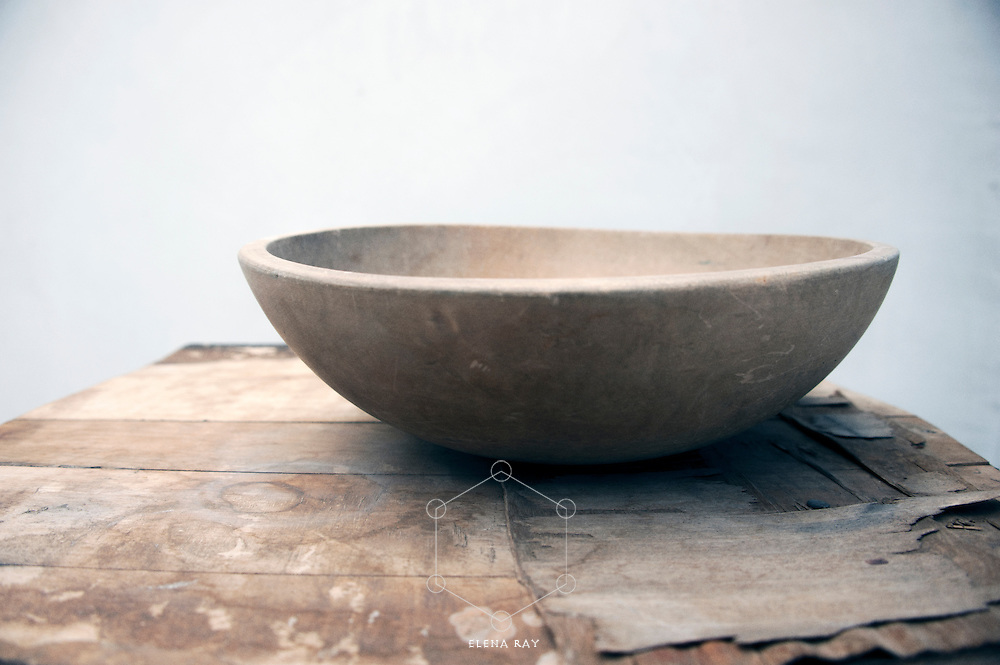 Wood bowl on a rustic wood table. Receive The Way Of Emptiness