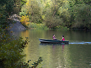 Couple in a rowboat on The Lake in Central Park