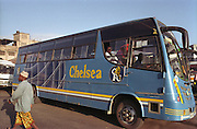 Kenya. Mombasa. Chelsea English football team bus..DVD0016