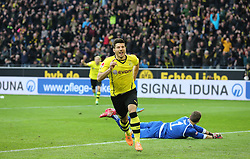 15.02.2014, Signal Iduna Park, Dortmund, GER, 1. FBL, Borussia Dortmund vs Eintracht Frankfurt, 21. Runde, im Bild Milos Jojic (Borussia Dortmund #14) beim Torjubel nach seinem Treffer zum 4:0 mit Torwart Kevin Trapp (Eintracht Frankfurt #1) geschlagen am Boden, Emotion, Freude, Glueck, Positiv // during the German Bundesliga 21th round match between Borussia Dortmund and Eintracht Frankfurt at the Signal Iduna Park in Dortmund, Germany on 2014/02/15. EXPA Pictures © 2014, PhotoCredit: EXPA/ Eibner-Pressefoto/ Schueler<br /> <br /> *****ATTENTION - OUT of GER*****