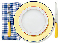 picnic place setting in yellow and blue