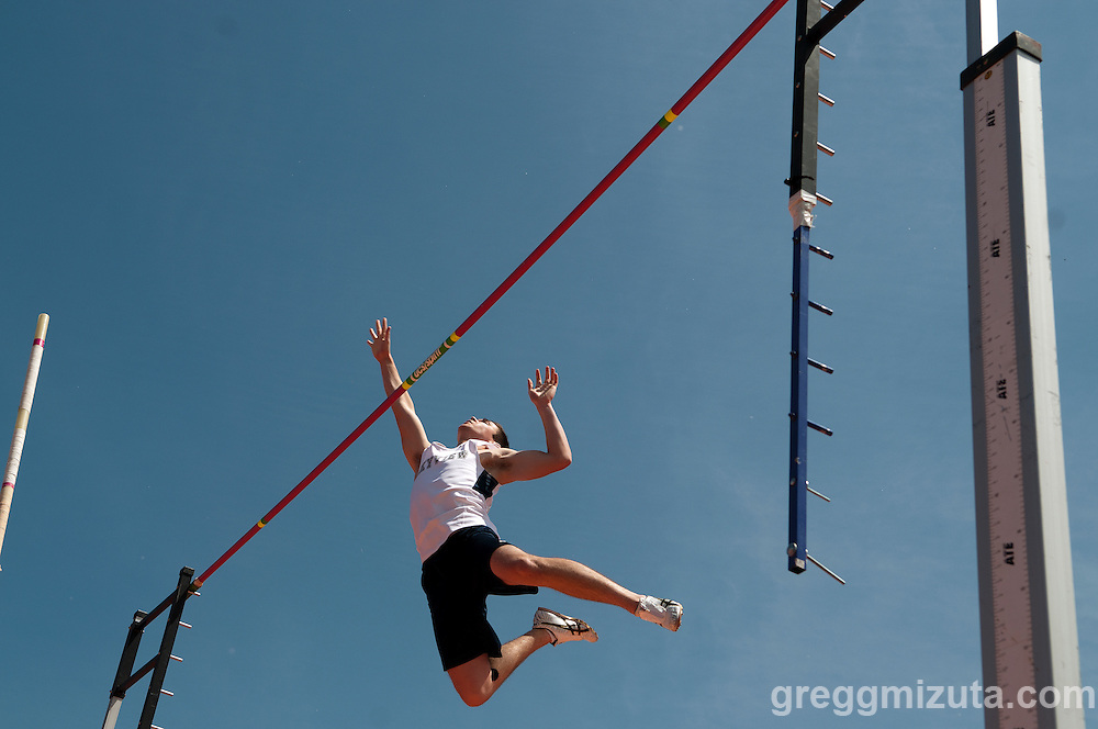 Skyview senior Grant Kido clears 13-00 during the Idaho 4A State Track & Field Championships at Dona Larsen Park, Boise, Idaho on May 17, 2014. Kido would finish second with a vault of 13-06.00.