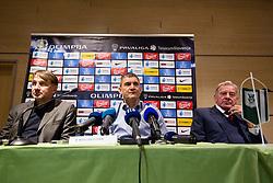 Ranko Stojic, Marijan Pusnik and Milan Mandaric at press conference of NK Olimpija Ljubljana about new head coach Marijan Pusnik, on March 9, 2017 in Austria Trend Hotel, Ljubljana, Slovenia. Photo By Matic Klansek Velej / Sportida