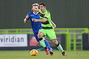 Forest Green Rovers Lloyd James(4) on the ball during the EFL Sky Bet League 2 match between Forest Green Rovers and Morecambe at the New Lawn, Forest Green, United Kingdom on 17 November 2018.