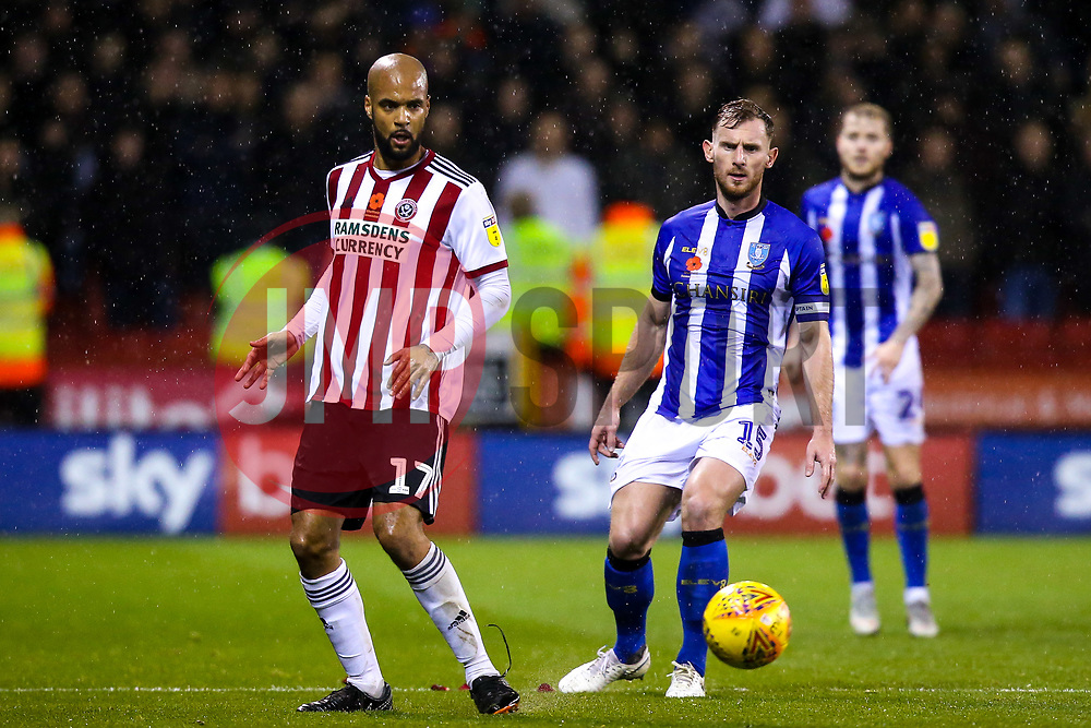 David McGoldrick of Sheffield United takes on Tom Lees of Sheffield Wednesday - Mandatory by-line: Robbie Stephenson/JMP - 09/11/2018 - FOOTBALL - Bramall Lane - Sheffield, England - Sheffield United v Sheffield Wednesday - Sky Bet Championship