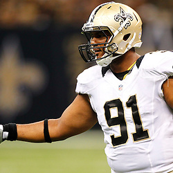August 17, 2012; New Orleans, LA, USA; New Orleans Saints defensive end Will Smith (91) against the Jacksonville Jaguars during the first half of a preseason game at the Mercedes-Benz Superdome. Mandatory Credit: Derick E. Hingle-US PRESSWIRE