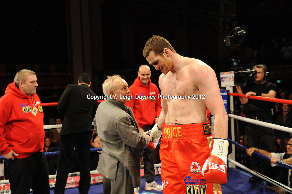 David Price with promoter Frank Maloney after defeating John McDermott in 12x3 min contest to claim The British Heavyweight Title Eliminator at Olympia, Liverpool on the 21st January 2012. Referee Howard John Foster. Frank Maloney Promotions on Skysports HD1. © Leigh Dawney Photography 2012.