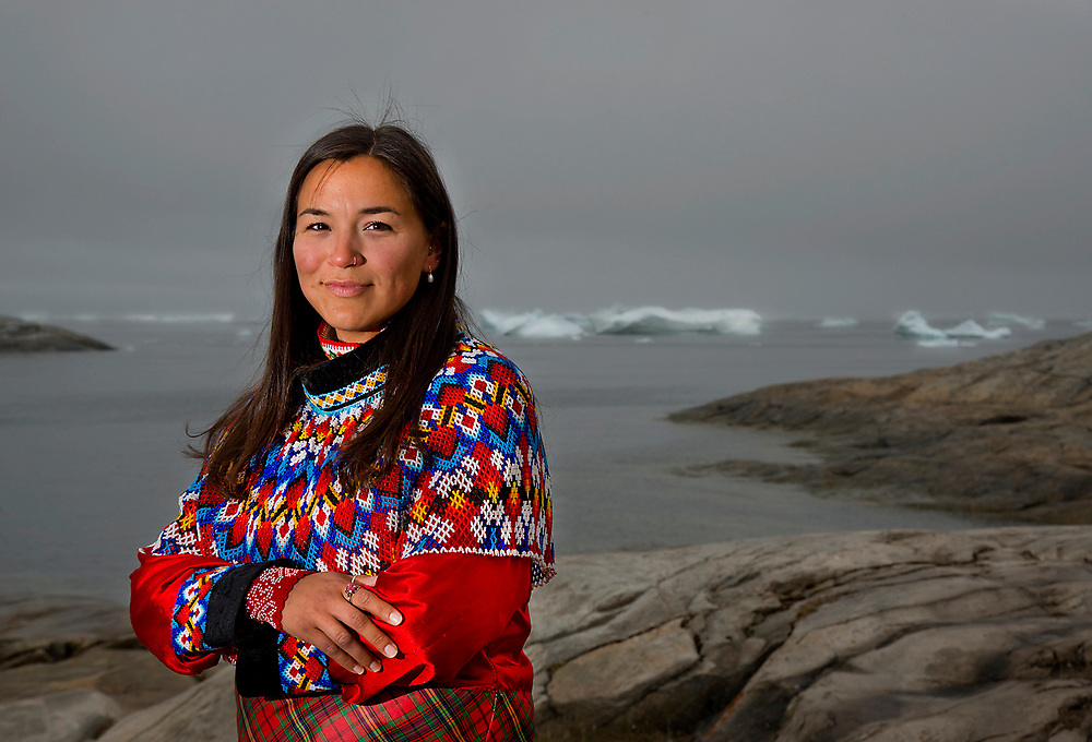 Josepha Thomsen, a resident of Illulissat, Greenland wearing traditonal Inuit Clothing.