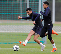 SAINT PETERSBURG, RUSSIA - JUNE 13: Kyle Walker (L) of England national team and Jesse Lingard of England national team during an England national team training session ahead of the FIFA World Cup 2018 in Russia at Stadium Spartak Zelenogorsk on June 13, 2018 in Saint Petersburg, Russia.