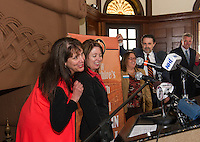 Ruth Sterling  Let it Shine, Amy Landers Lakes Region Tourism Assoc., Karmen Gifford Lakes Region Chamber of Commerce, Mayor Ed Engler and City Manager Scott Myers announce Laconia as the host of the 25th anniversary of the New Hampshire Pumpkin Festival during the press conference at the Laconia Train Station Friday afternoon. (Karen Bobotas/for the Laconia Daily Sun)