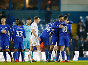 Cardiff players celebrate at full time during the EFL Sky Bet Championship match between Leeds United and Cardiff City at Elland Road, Leeds, England on 3 February 2018. Picture by Paul Thompson.