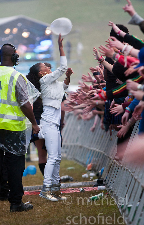 Ms Dynamite in the pit at the end of the Magnetic Man set on the Main Stage..Rockness, Saturday, 11th June 2011..RockNess 2011, the annual music festival which takes place in Scotland at Clune Farm, Dores, on the banks of Loch Ness near Inverness..Pic ©2011 Michael Schofield. All Rights Reserved..
