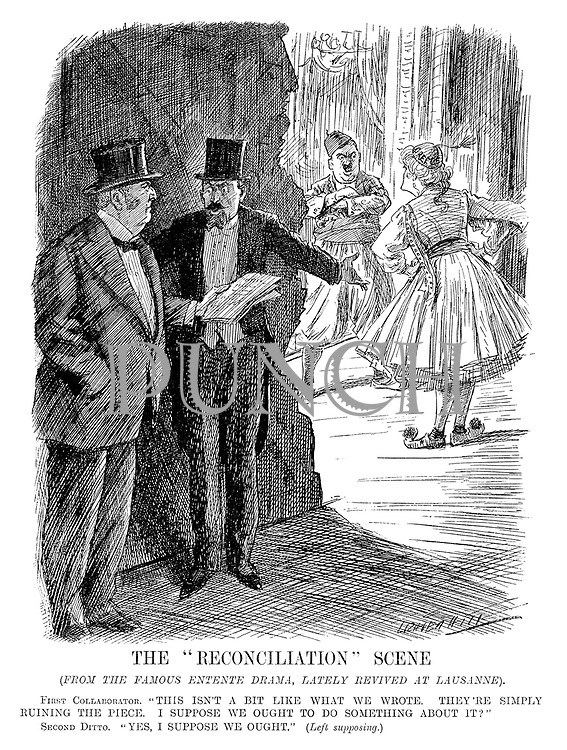 "The ""Reconciliation"" Scene. (from the famous Entente drama, lately revived at Lausanne). First Collaborator. ""This isn't a bit like what we wrote. They're simply ruining the piece. I suppose we ought to do something about it?"" Second Ditto. ""Yes, I suppose we ought."" (Left supposing.) (cartoon showing Britain and France angry that Turkey and Greece are not playing to the script for peace during the InterWar era)"