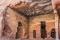 rocks caves in Nabatean Petra Jordan middle east