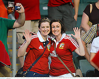 1 June 2013; British & Irish Lions supporters Aoife de Búrca, from Dublin, left, and Aisling O'Connor, from Ratoath, ahead of the game. British & Irish Lions Tour 2013, Barbarians v British & Irish Lions, Hong Kong Stadium, So Kon Poh, Hong Kong, China. Picture credit: Stephen McCarthy / SPORTSFILE