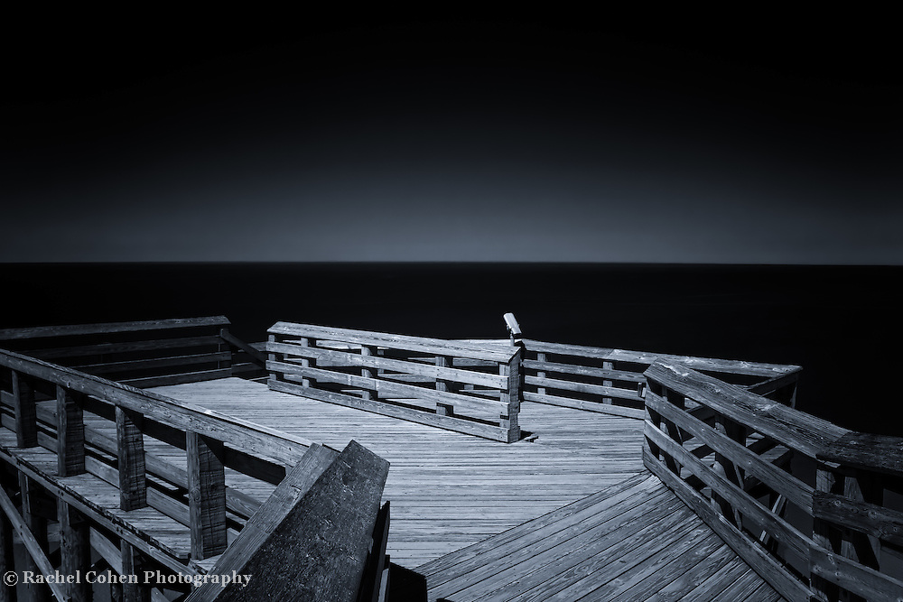 &quot;Light on the Horizon&quot; <br /> <br /> A beautiful and atmospheric black and white scene at overlook #9 along Lake Michigan on Pierce Stocking Scenic Drive!