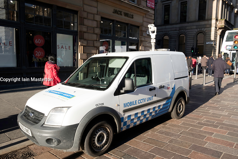 Mobile cctv surveillance camera vehicle in Glasgow city centre, Scotland, United Kingdom