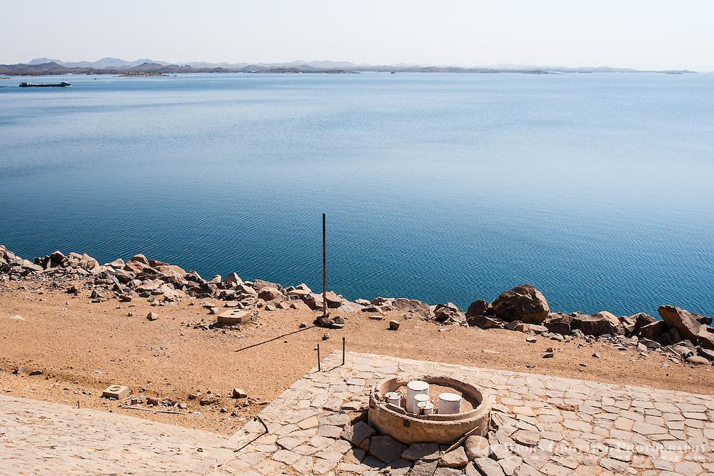 Egypt. The Aswan Dam is an embankment dam situated across the Nile River. Lake Nasser.