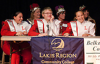 "Debbra Parent, Adam Cook and Stacia Michalewicz of the LHS ""B is for Band"" team sponsored by Laconia Savings Bank await the judges decision during round two of the Lakes Region Scholarship Foundation's 11th annual spelling bee at Laconia High School.   (Karen Bobotas/for the Laconia Daily Sun)"