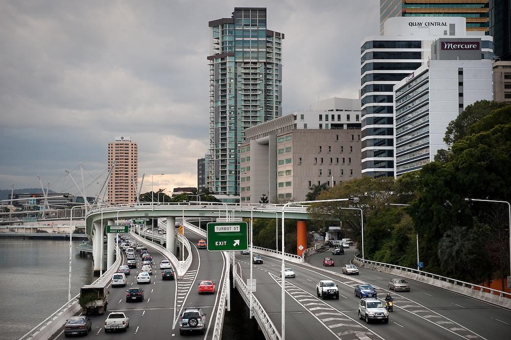 A motorway by the Brisbane River, Brisbane, Queensland, Australia.
