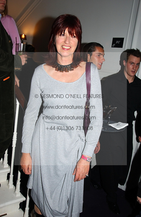 JANET STREET-PORTER at a party hosted by jeweller Theo Fennell and Dominique Heriard Dubreuil of Remy Martin fine Champagne Cognac entitles 'Hot Ice' held at 35 Belgrave Square, London, W1 on 26th October 2004.<br />