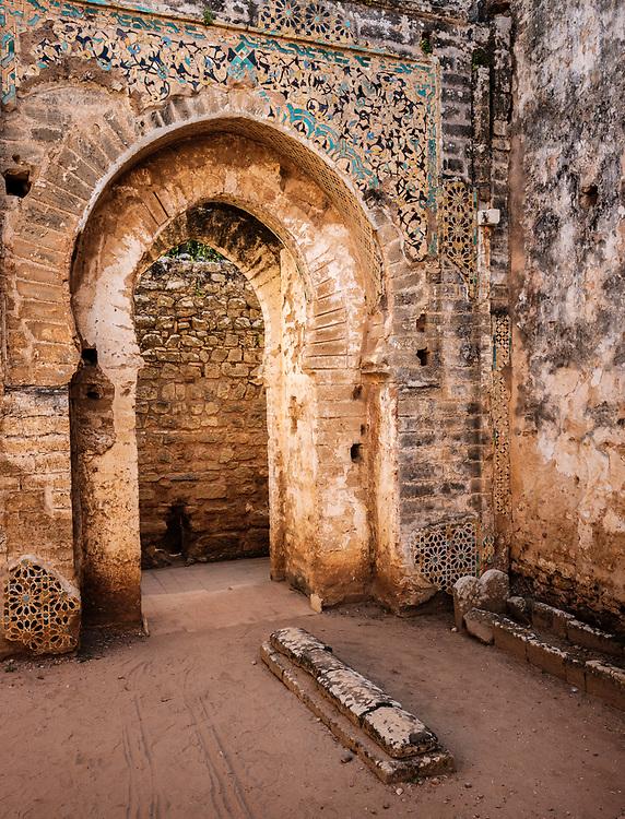 RABAT, MOROCCO - CIRCA APRIL 2017: Ruins in Chellah, an ancient citadel featuring Roman ruins an royal tombstones in Rabat.