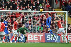 Rochdale's Ian Henderson heads the ball towards goal - Photo mandatory by-line: Dougie Allward/JMP - Mobile: 07966 386802 - 28/02/2015 - SPORT - football - Bristol - Ashton Gate - Bristol City v Rochdale AFC - Sky Bet League One