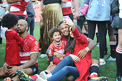 28-07-18 Emirates Airline Park, Johannesburg. Super Rugby semi-final Emirates Lions vs NSW Waratahs. outside centre Lionel Mapoe and fly half Elton Jantjies with their families after the game.<br />  Picture: Karen Sandison/African News Agency (ANA)