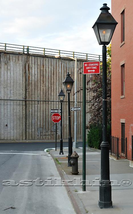 Gas lampposts on street of Brooklyn