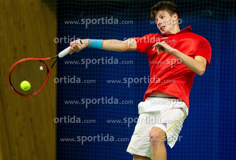 Aljaz Jeran playing final match during Slovenian National Tennis Championship 2019, on December 21, 2019 in Medvode, Slovenia. Photo by Vid Ponikvar/ Sportida