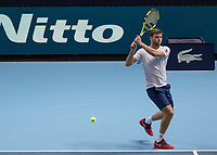 Tennis - 2017 Nitto ATP Finals at The O2 - Day Three<br /> <br /> Mens Doubles: Group Eltingh/Haarhus: Pierre-Hugues Herbert (France) & Nicolas Mahut (France) Vs Ryan Harrison (United States) & Micheal Venus (New Zealand)<br /> <br /> Ryan Harrison (United States) with a backhand return at the O2 Arena <br /> <br /> COLORSPORT/DANIEL BEARHAM