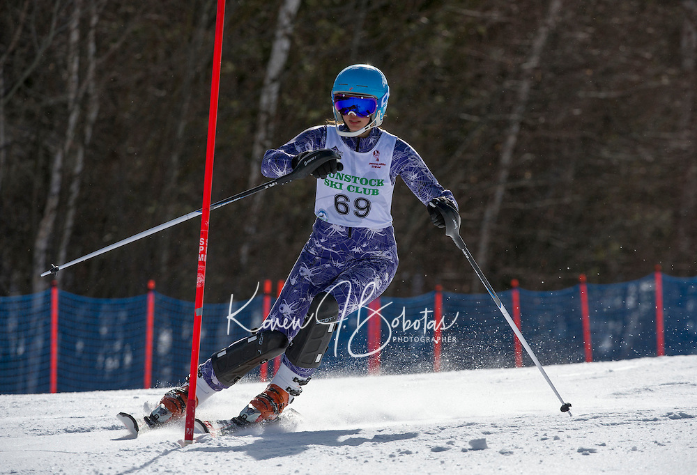 Piche Invitational slalom 2nd run U14 girls Sunday, March 17, 2013.  Karen Bobotas Photographer