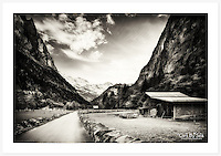 Dairy farms on the valley floor near Lauterbrunnen, Bernese Oberland, Switzerland<br />