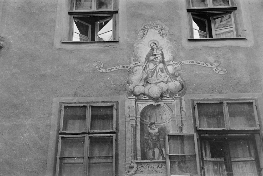 Old windows, sign, painted shrine, Innsbruck, Austria, 1937